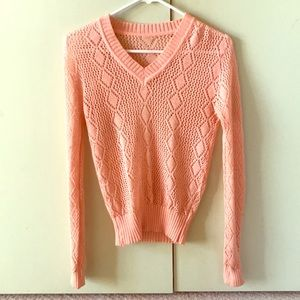 Tops - Coral pink orange knit cardigan see through top